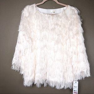 NY COLLECTION | NWT Shag Fringe White Jacket XL
